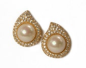 1980s 1990s Christian Dior Gold Tone Faux Pearl and Pave Set White Rhinestone Tear Drop Vintage Costume Jewelry Pierced Earrings