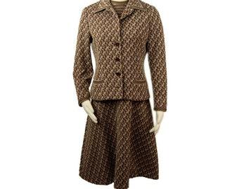 1960s Anne Fogerty 2 Piece Suit Set Multi Colored A-Line Dress with Jacket Vintage Suit Set