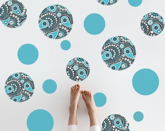 Turquoise  Black and White Paisley Dot Wall Decals, Removable and Reusable