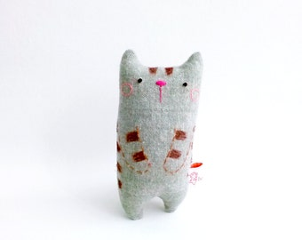 Cat Decor, Tabby Cat, Doll Cat, Desk Toy, Cat Miniature, Stuffed Cat, Cat Plush Toy, Cat Doll, Gift For Him - Miiro