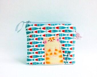 Coin Purse, Zipper Coin Pouch, Cute Coin Purse, Change Wallet, Zipper Bag, Blue, Card Wallet, Cat Purse, Fabric Purse - Happy Cat