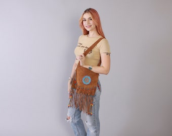Vintage 80s Leather PURSE / 1980s Beaded Fringe Native Style Festival Bohemian Shoulder Bag