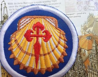 2x Camino de Santiago Patches in Blue, Santiago de Compostela Patch, The Way of St James Pilgrim badges, sew on patch for back pack.