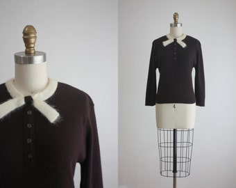 1950s angora bow sweater