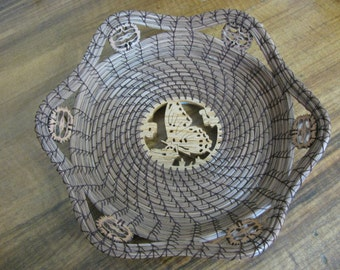 Scroll Sawn Image of a Butterfly Pine Needle Basket