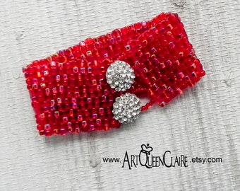 Red Peyote Stitch Beaded Bracelet with Rhinestone Button Clasp - Red Bead Woven Cuff - Rhinestone Button Beaded Red Bracelet
