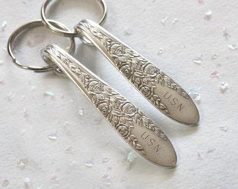 Spoon Key Chain Rose and Leaf Pattern- USN Monogram