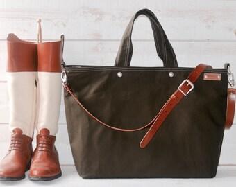Canvas tote, Carry all Leather bag Diaper bag, Messenger bag Work bag, Leather straps, Men messenger, Travel bag, Zipper