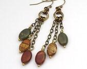 Cascading red creek jasper earrings, long brass chain, French hooks, 2 11/16 inches long