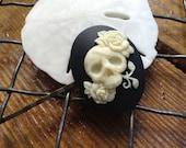 Gothic Ivory on Black Skull Hair Clip