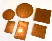 6 pcs Assorted Shapes Antique Copper METAL STAMPING BLANKS-copper stamping tags, metal stamps-round square stamping blanks