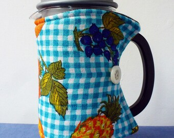 Fruity check repurposed linen coffee pot cosy, cheery kitchen french press cozy