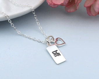 Best Friends Necklace, Sterling Silver BFF Heart Necklace, Best Friends Forever