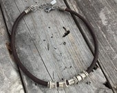 Leather Necklace Sterling Silver Handmade Bracelet Wild Prairie Silver Jewelry By Joy Kruse