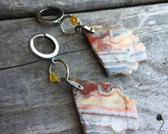 Sterling Silver Handmade Earrings Lace Agate Earrings Handmade Jewelry By Wild Prairie Silver