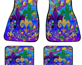Blue Fleur de lis Blast Art Car Mats from my original design