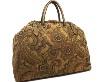 Large Mary Poppins Style Carpet Bag Tan Floral Design