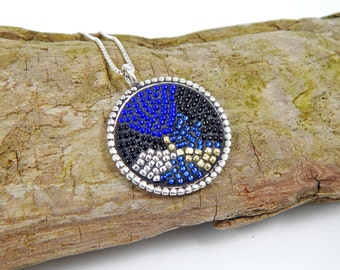 Multi Colored Micro Mosaic Sterling Necklace