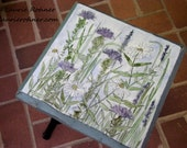 Hand Painted Furniture Farmhouse Style Accent Table with Botanical Wildflowers