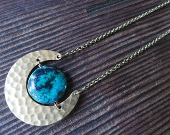 Eclipse Planet Crescent Moon Necklace Earth Pendant Chrysocolla Turquoise Chain Hammered Brass Azeeta Designs Azeetadesigns