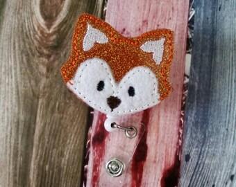 Fox Badge Reel - Retractable Badge Holder - uniform - ID Holder - Woodland Animal - Nurse Gift - Hospital Employee Gift - Name Badge Holder