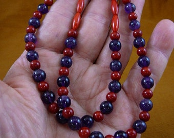 18 inch long 13x5 mm red bamboo coral with purple Amethyst beaded Necklace jewelry V30-101