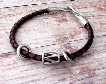 Boho Mens Leather Bracelet - Mens Boho Leather Bracelet - Leather Mens Cuff - Mens Bracelet - Boho Leather bracelet - Braided Leather Cuff