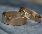 Recycled 14k Yellow Gold Hammered Wedding  Band Set- Reserved Listing