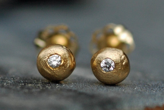 Solid 18k Yellow Gold Drops with Diamonds- Ready to Ship Post Earrings