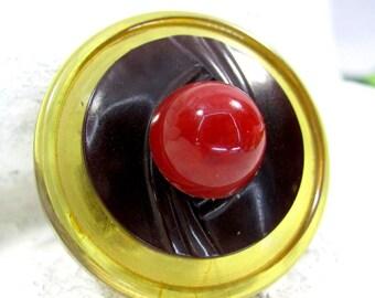 Vintage BAKELITE BUTTON ARTISAN Ring Adjustable Cherries Jubilee Sz 8.25