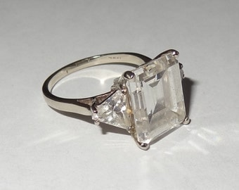 Vintage 14k White Gold and Cubic Zirconia Ring