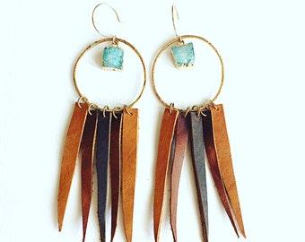 Blue Moon Leather Fringe Earrings