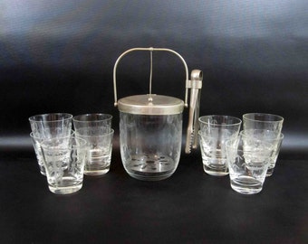 Vintage Cocktail Set with hand Etched Bamboo Motif. Made in Japan. Ice Bucket and 10 Rocks Glasses. Circa 1950's.