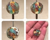 ValVaaniaLampwork AQUARIUM Glass Bead MARBLE Perfect for Wire Wrapping Sterling Silver Leaf