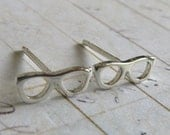 Tiny glasses stud earrings. Sterling silver or 14k gold posts. Nerd geek jewelry. Miniature eyeglasses.  Minimalist gift for her.