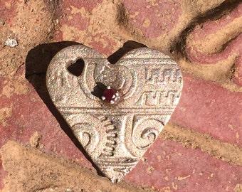 Bronze Textured Heart with Garnet
