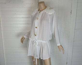 90s Peasant Tunic is White Chiffon- 1990s Pirate Blouse- Padded Shoulders- Small / Medium