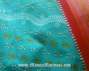 Turquoise Blue Block Print Fabric, Indian Saree Fabric By The Yard, Floral Printed Cotton Fabric, Printed Fabric, Block Print Fabric