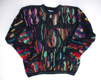 Genuine COOGI Australia Sweater XL, Cotton 13 Colors 3D Squiggle WILD Pattern, Multicolor Long Sleeve Crew Neck, Textured Pullover Ex Large