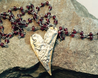 Metalwork Heart Pendant Necklace