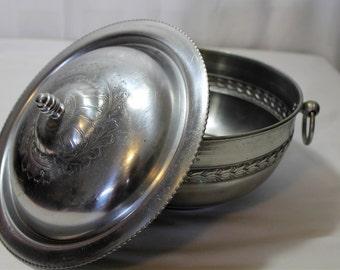 Vintage Aluminum Covered Bowl, Lidded Bowl, Floral Design
