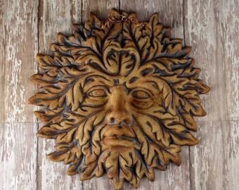 Pottery Green Man Face - Garden Face - Garden Decor Wall Hanging - Ceramic Garden Ornament - Bathroom Wall Decor - Roman - Greek - 953