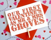 Couple's First Valentine's Card – Personalised Valentine's Day Card – Card for Husband/Wife – Name card for husband/wife – Newlywed card