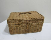Wicker Rattan Basket Chest with Lid