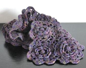 Sunshine - Purple - Crochet Multicolor 3D Flower Granny Square Scarf