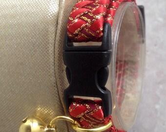 Breakaway Cat Collar in Red Braided Ribbon