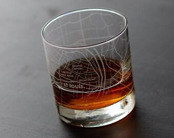St. Louis Map Rocks Glass