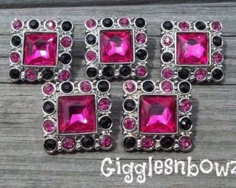 Sale Rhinestone Buttons- 5pc Shocking Pink/Black Rhinestone Buttons- 25mm Headband Supplies-Diy Supplies- Sewing Button- Diy Baby Headband