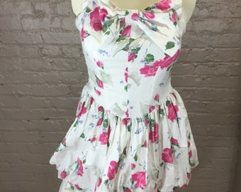 Vintage Strapless Floral Peplum Dress