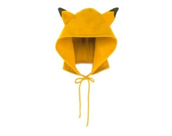 Tiger Hoodie Hat - Fleece Tie Hooded Hat with Ears in Gold and Black - Unisex Adult & Kids Sizes